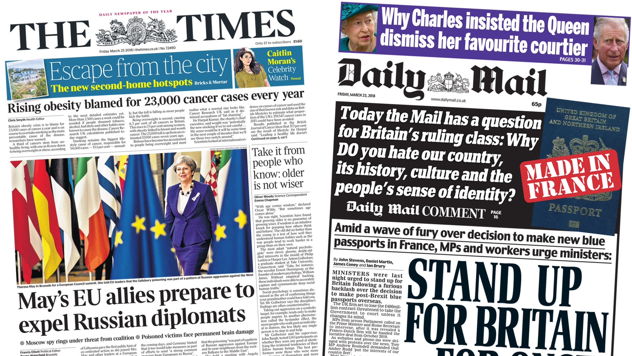 Newspaper headlines: EU solidarity over Russia and blue passport furore