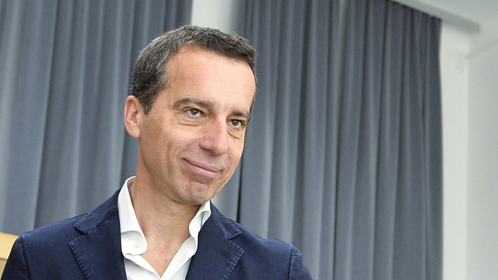 Austrian Chancellor Christian Kern votes in the second round of the presidential election on 23 May.