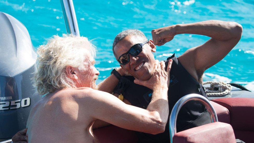 Richard Branson y Barack Obama en Islas Vírgenes Británicas