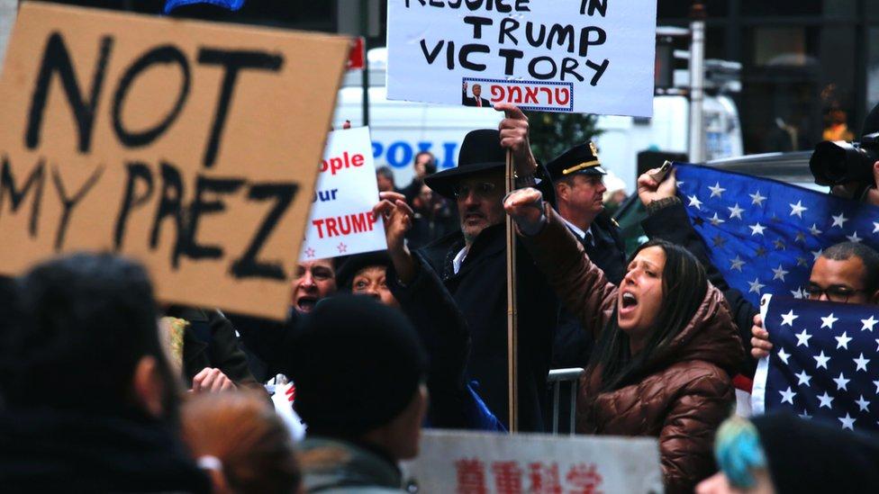 Protestas contra la elección de Trump como el nuevo presidente de Estados Unidos.