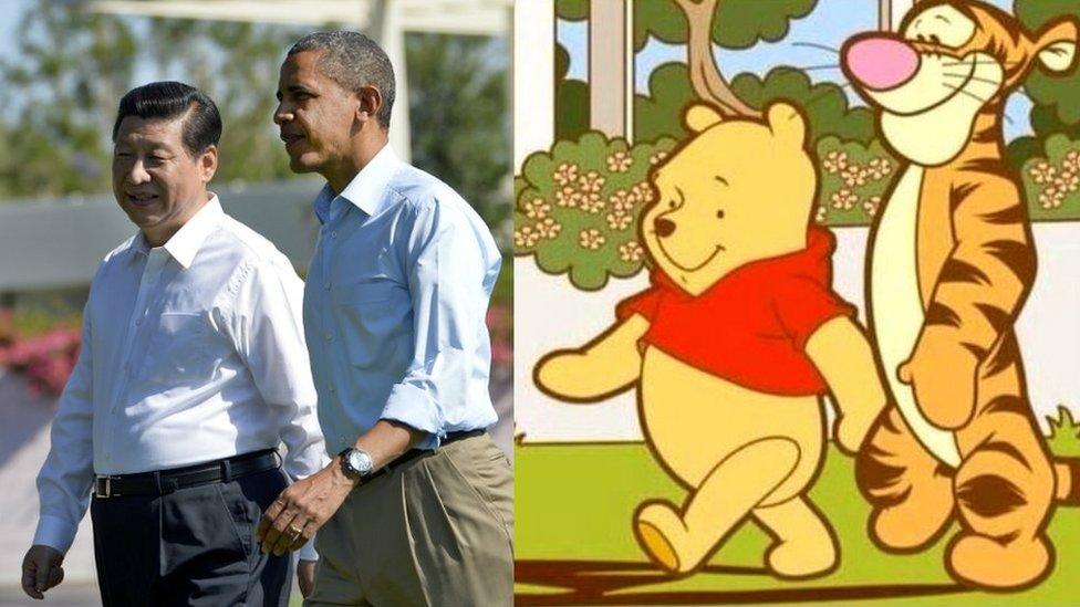 Composición de dos fotografías en las que se ve al presidente chino, Xi Jinping, y al estadounidense Barack Obama comparándolos con los dibujos animados Winnie the Pooh y Tiger.