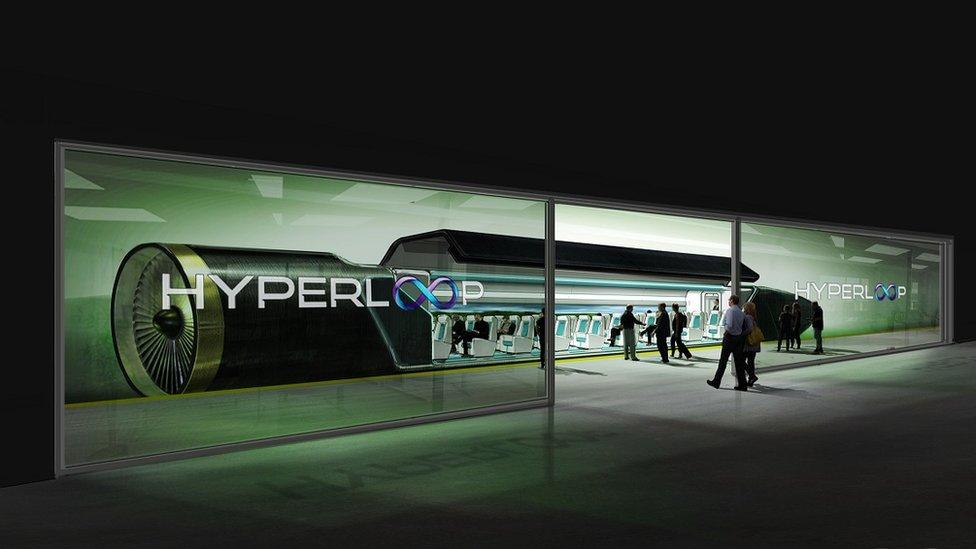 Graphic of passengers boarding Hyperloop