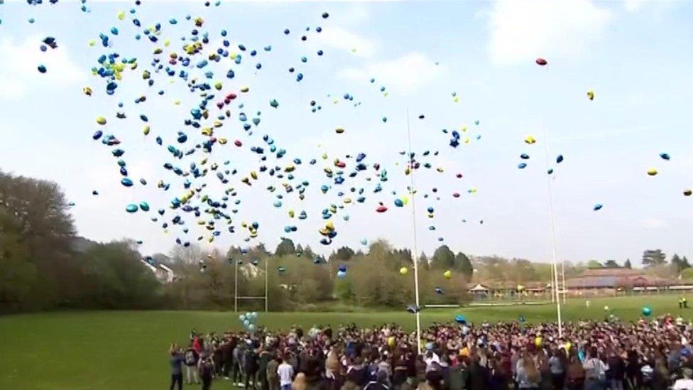 Carson Price: Hundreds release balloons in park vigil