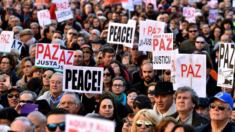Manifestación por la paz en España