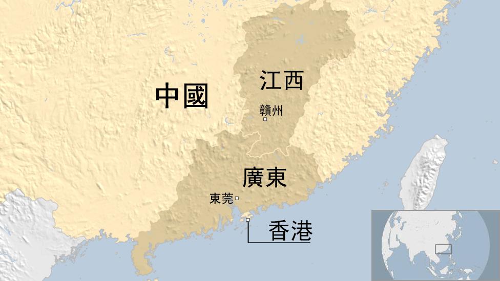 中國江西與廣東省相關簡明地圖