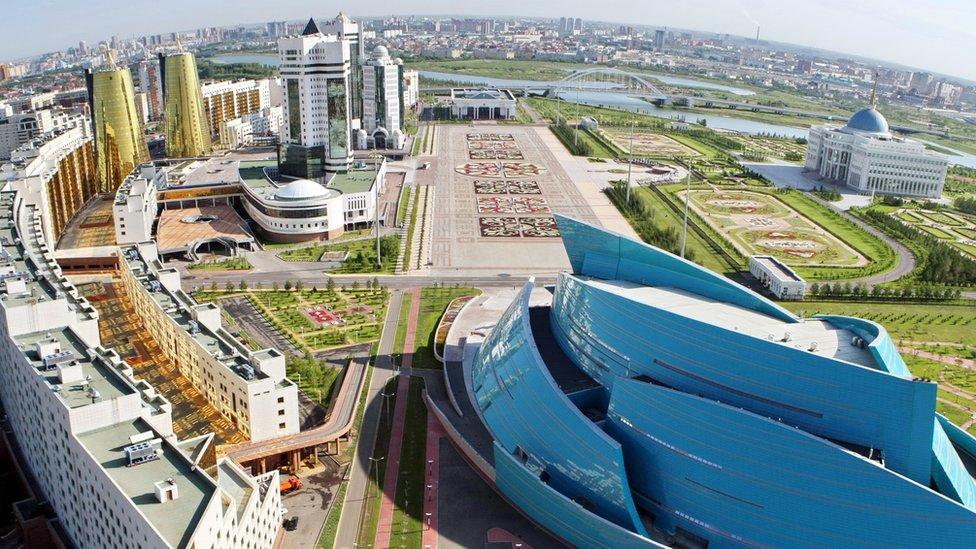 Vista aérea de Astana, capital de Kazajstán.