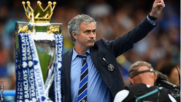 Jose Mourinho with the Premier League trophy