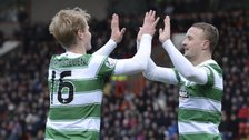 Celtic's Leigh Griffiths (right) celebrates his goal with team-mate Gary Mackay-Steven