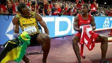 Usain Bolt (left) and USA's Justin Gatlin