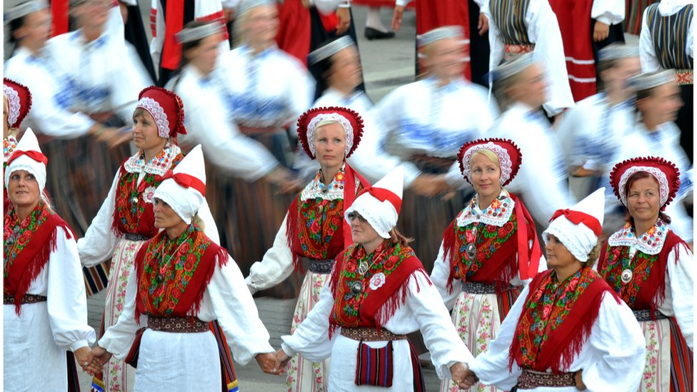 Estonian traditional dancers