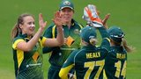 Australia celebrate a wicket for Ellyse Perry