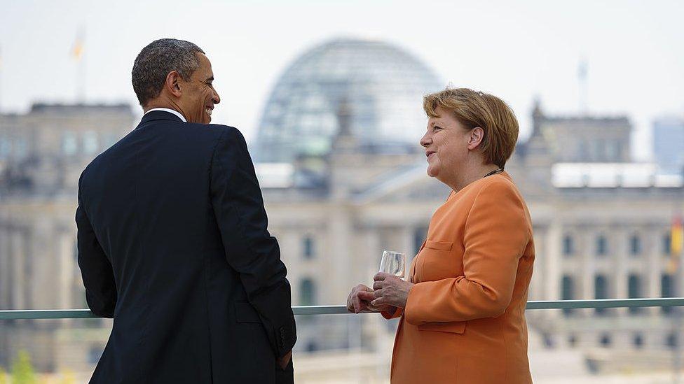 Barack Obama y Angela Merkel.