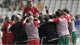 Wales players celebrate victory in Cyprus