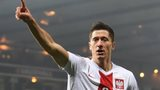 Robert Lewandowski celebrates scoring