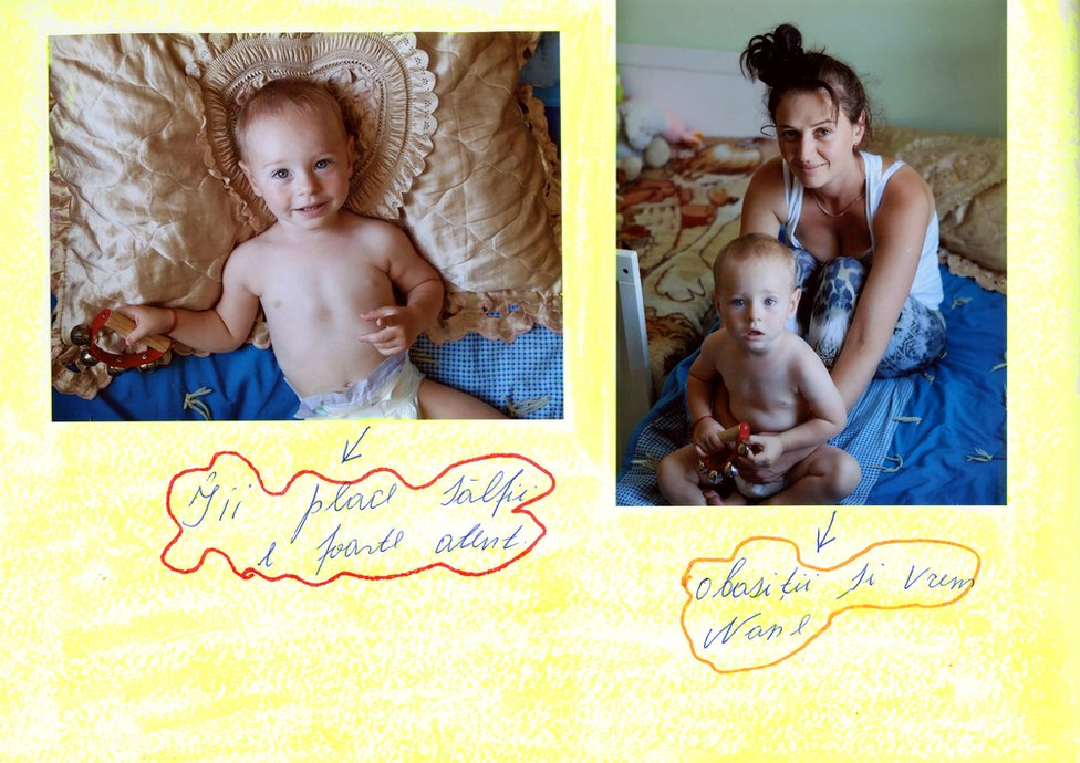 A baby album showing Alina and her son