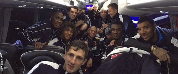 Watford players on team coach