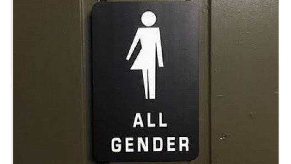 All gender bathroom sign