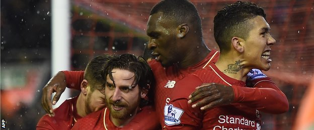 Joe Allen celebrates scoring for Liverpool against Arsenal