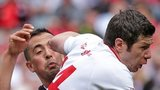 Sligo's Neil Ewing battles with Tyrone's Sean Cavanagh at Croke Park