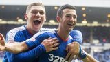 Jason Holt celebrates the opener for Rangers