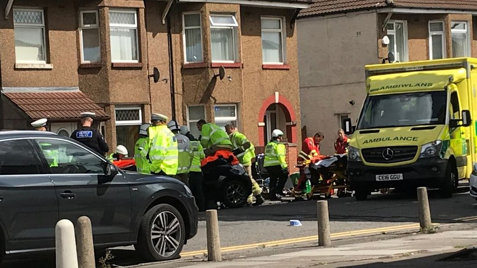 Woman trapped in car as crash shuts Cardiff road