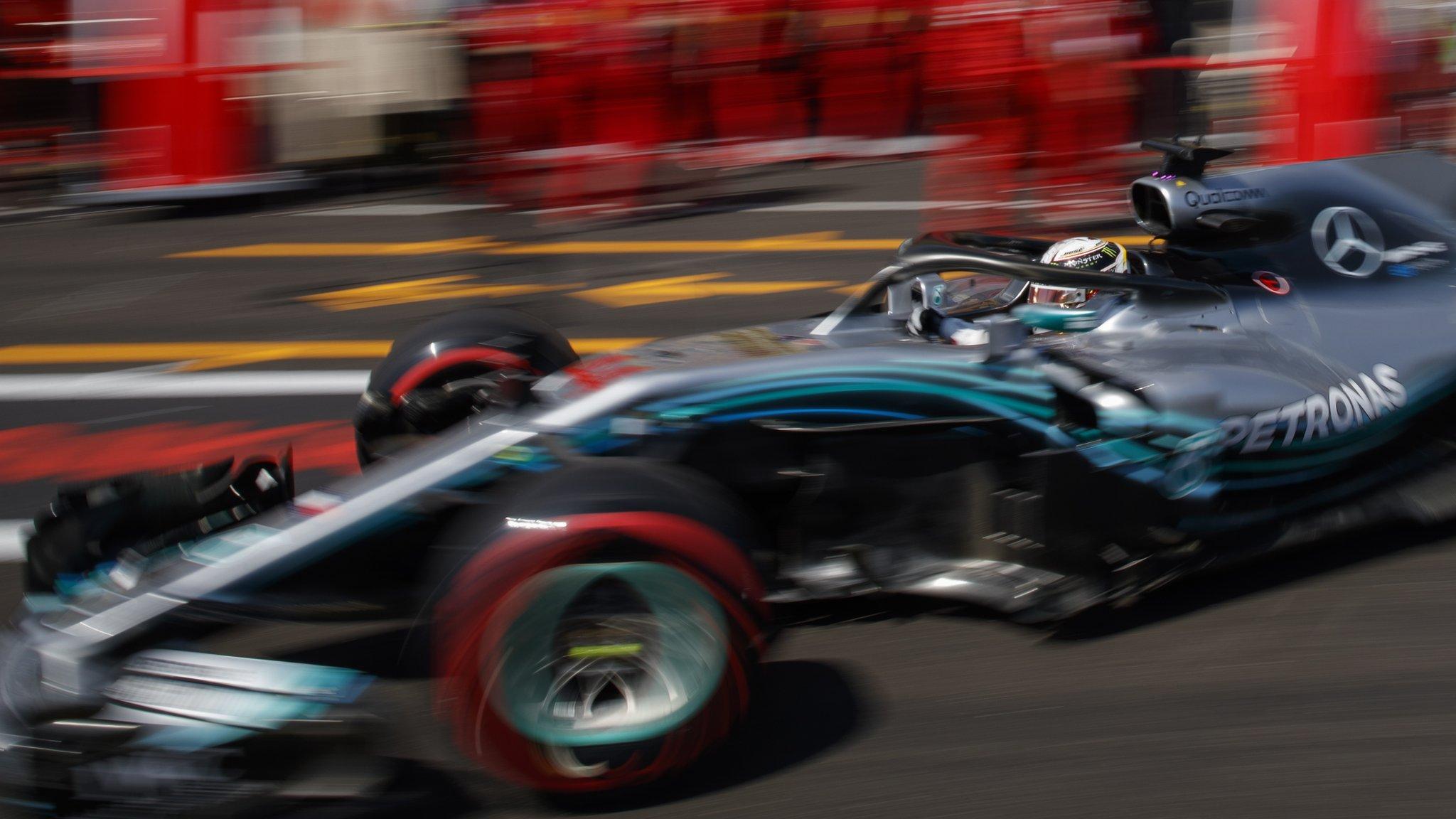 Lewis Hamilton tops French GP practice as Sergio Perez loses wheel