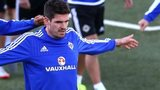Kyle Lafferty trains in Torshavn on Thursday night