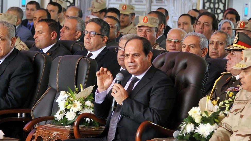 Abdul Fattah al-Sisi speaks during a visit to Mediterranean coastal town of Alamein on 1 March 2018