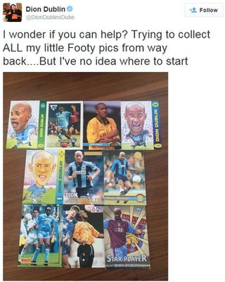 Dion Dublin tweets asking for help finding collectors' cards