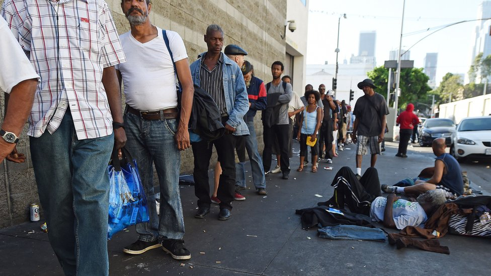 Bbc news los angeles homelessness emergency 39 a city of for Homeless shelter in los angeles
