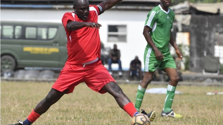 Football president George Weah puts Liberian army to the test