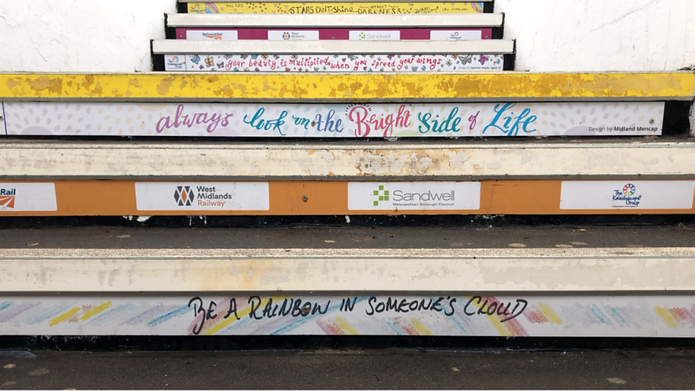 Commuters urged to smile by positive messages on steps