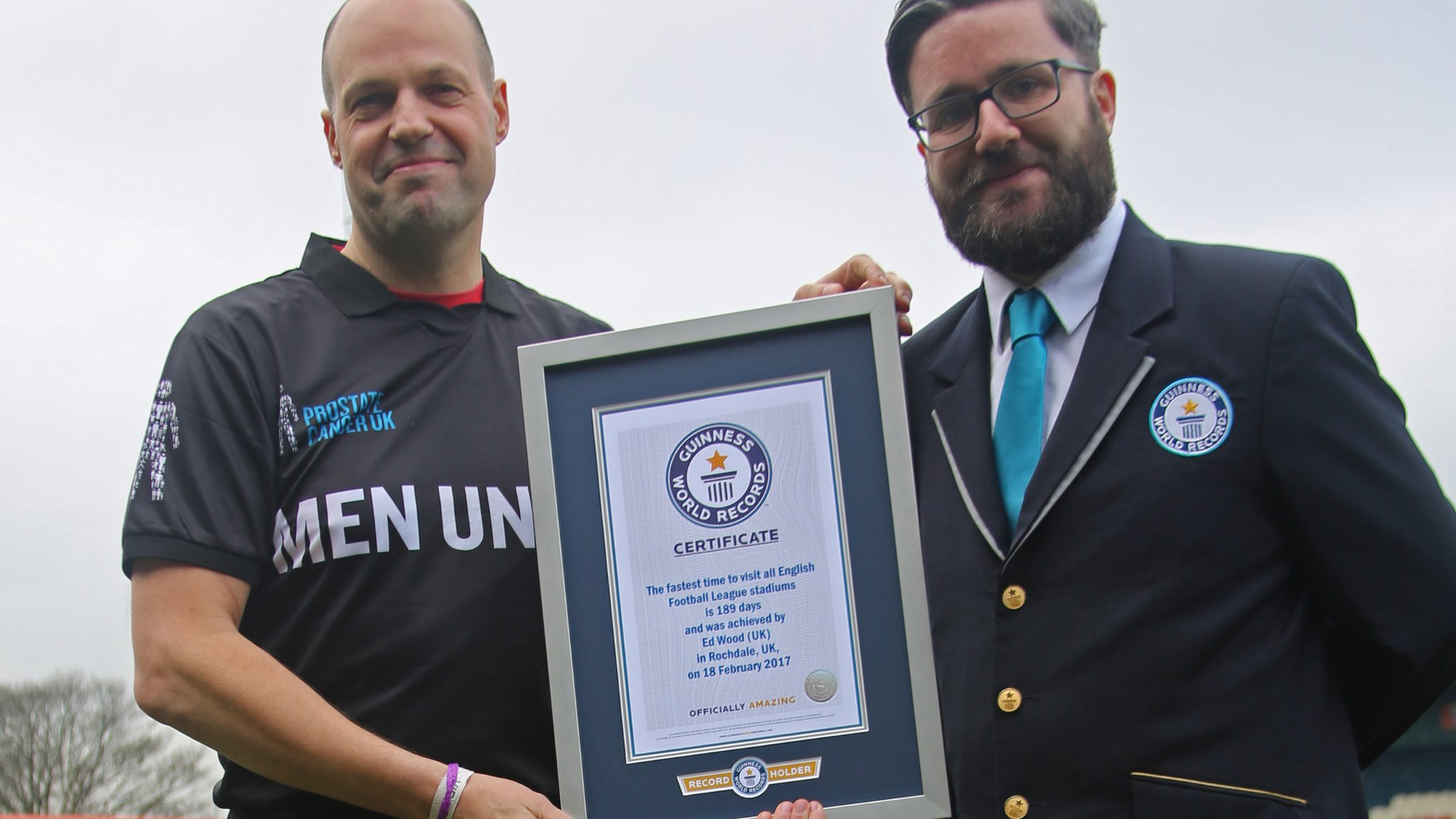 Derby fan Ed Wood breaks world record time for visiting every league ground