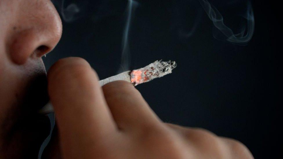 Lit up cigarette