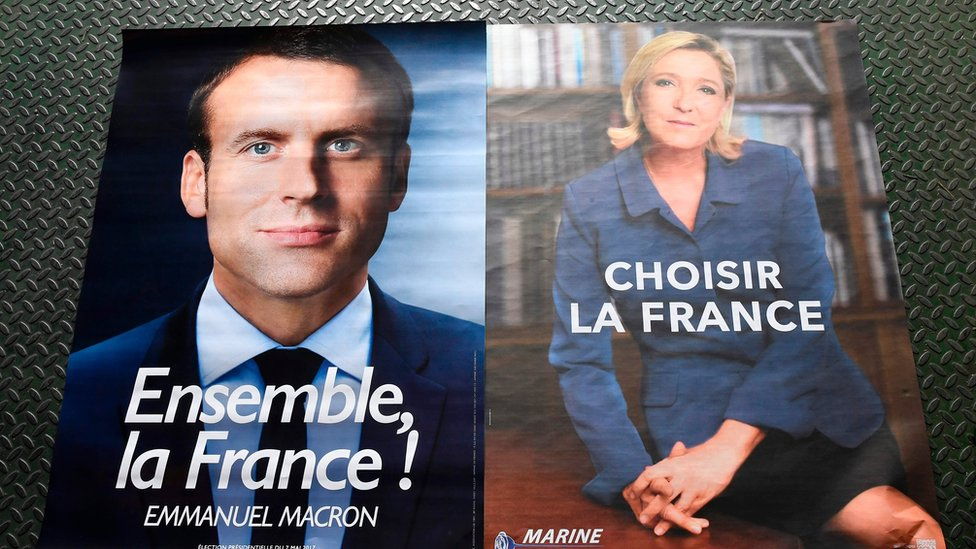 法國總統選舉第2輪投票將在5月7日舉行,兩位候選人馬克宏(左)與勒潘(右)將一決高下。(BBC中文網)