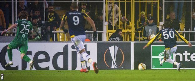 Lazar Markovic scores for Fenerbahce against Celtic