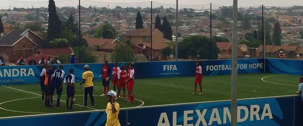 South African children play out their very own 'Champions League' in the Johannesburg township of Alexandra.