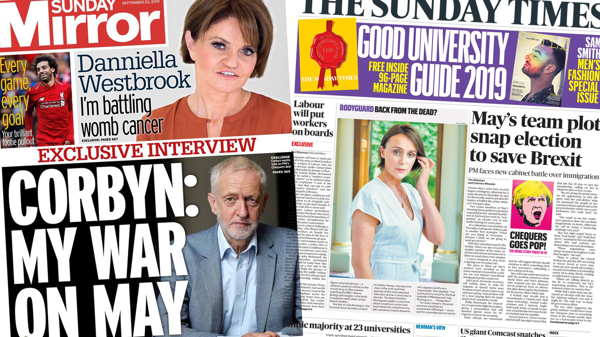 The Papers: 'Snap election plot' and Labour on new EU vote