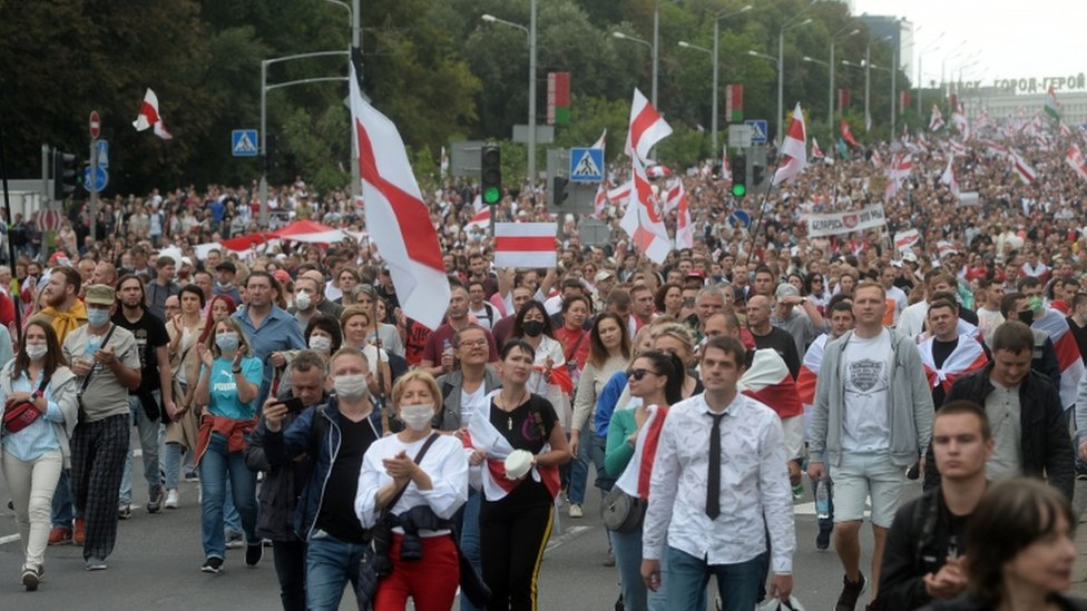 Demonstrators in Minsk on Sunday