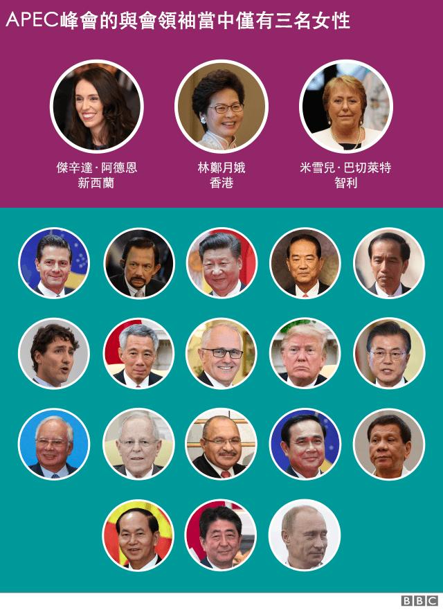 有關APEC峰會領導人性別的圖表