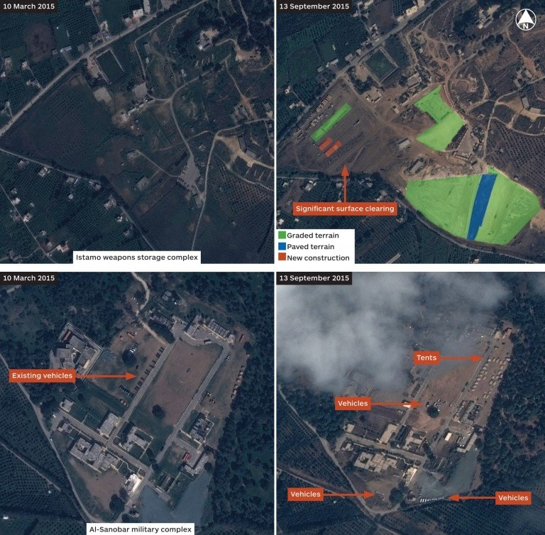 Satellite images of possible Russian military sites in Syria