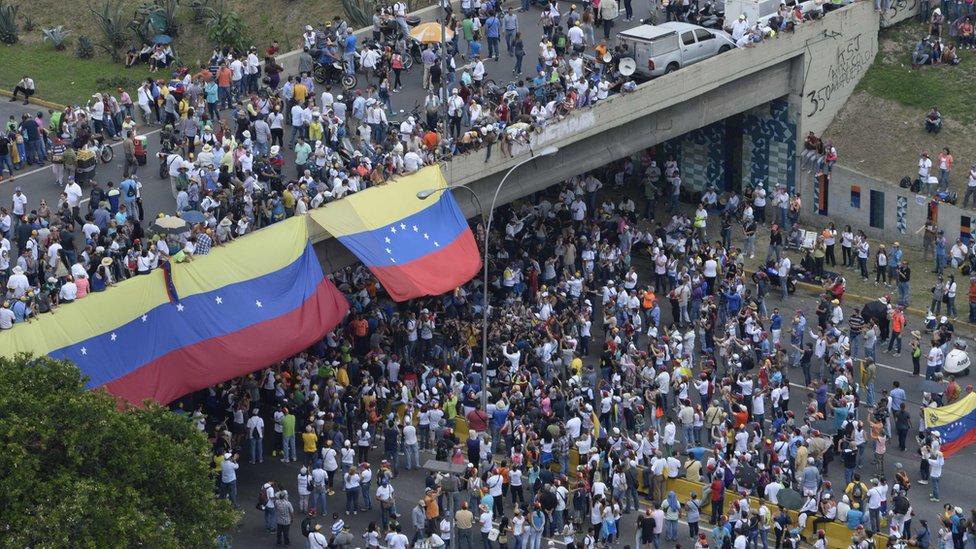 Plantón de la oposición en Venezuela