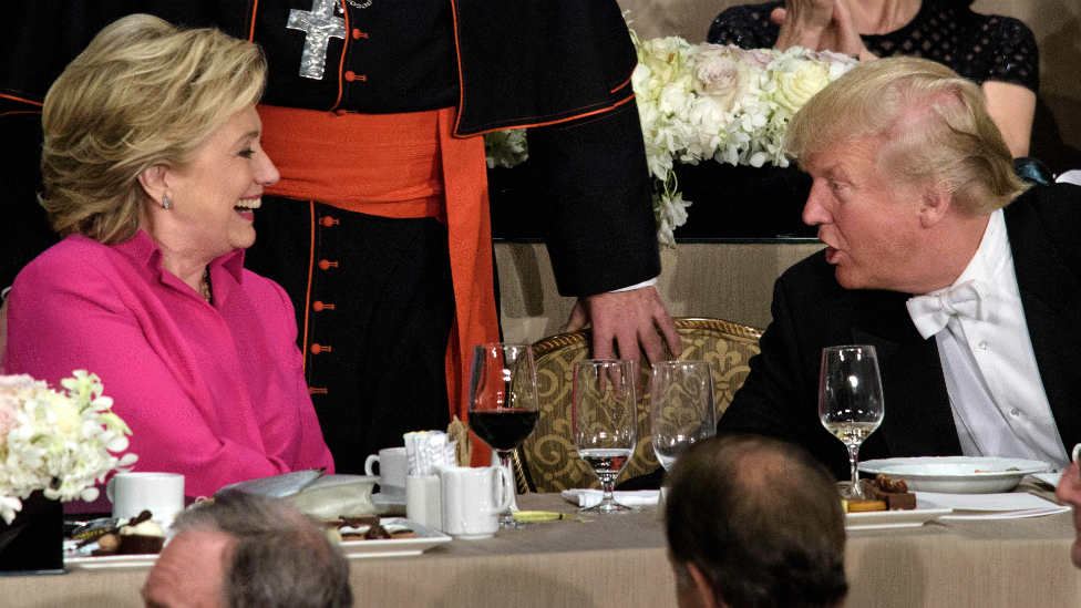 US election: Clinton and Trump trade barbs at Al Smith dinner