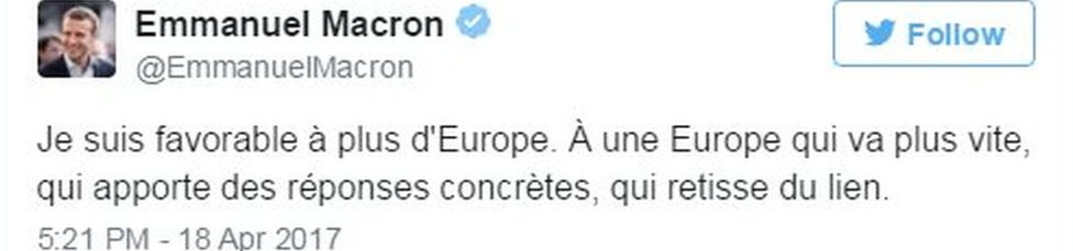 Tuit de Emmanuel Macron