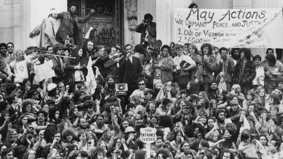 Protesta contra la guerra de Vietnam frente al Capitolio de Washington DC en mayo de 1971