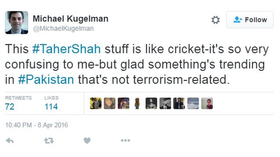 This #TaherShah stuff is like cricket-it's so very confusing to me-but glad something's trending that's not terrorism related