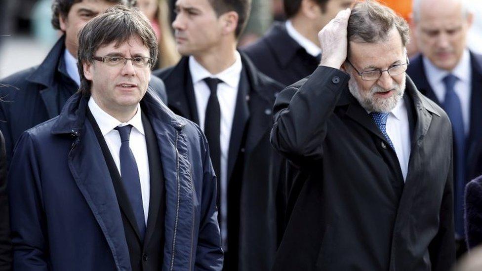 加泰羅尼亞自治區主席普伊格蒙特和西班牙首相拉霍伊