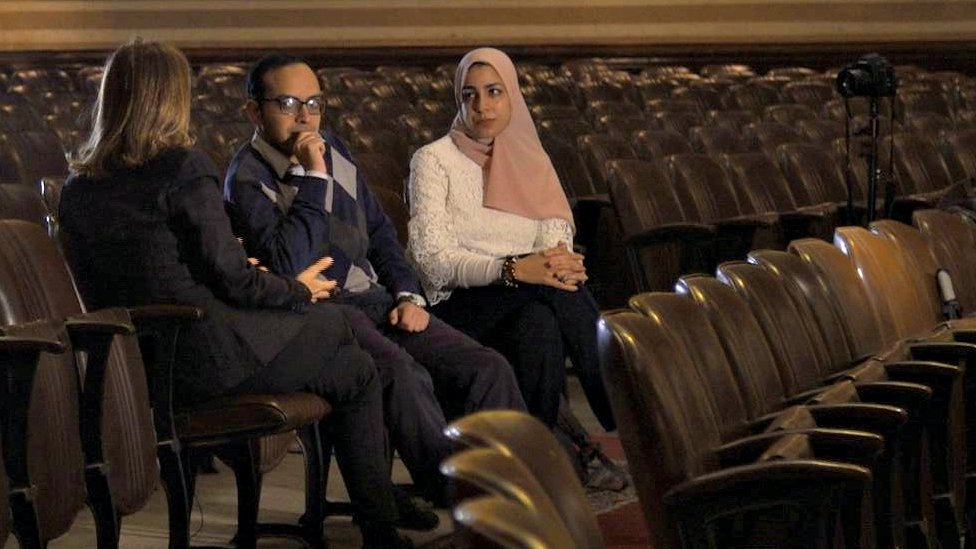 Dr Tamer Mamdouh Abdo (centre) and Nadine Medhat (right)