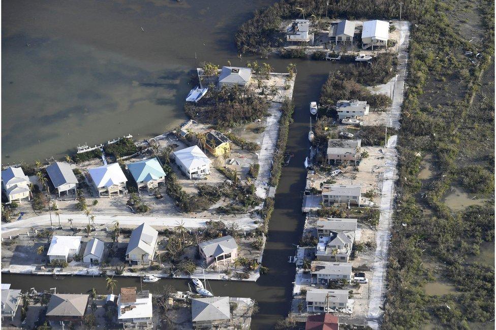 Inundaciones y daños en los cayos de Florida.