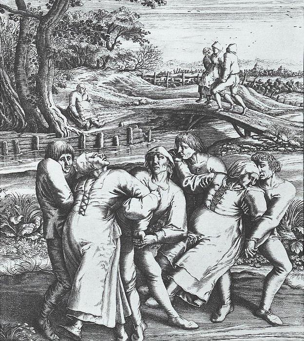 """¿Hongos, heréticos, histéricos...? Hay varias teorías pero el historiador de medicina y autor de """"Tiempo de danzar: Tiempo de morir"""" tiene la propia. Grabado de Hendrick Hondius (1642) a partir de un dibujo de Pieter Brueghel el Viejo (1564)"""